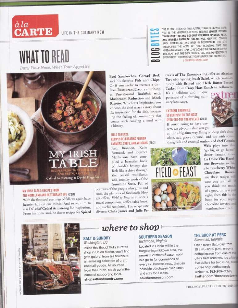 Field to Feast – The Local Palate – October 2012
